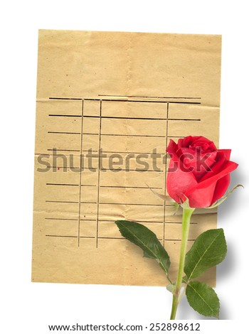 Old vintage card with a beautiful red rose on paper background - stock photo