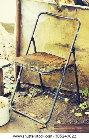 old vintage chair outdoor - stock photo