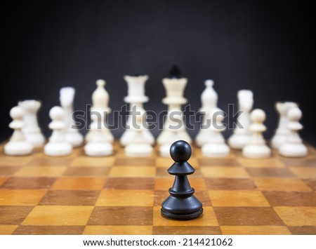 Old vintage chess on chessboard, close up  - stock photo