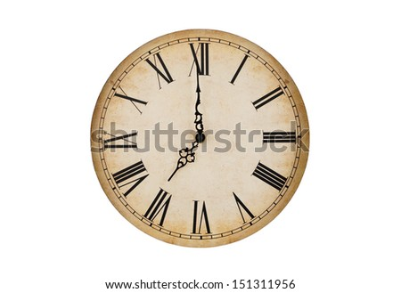 Old vintage clock face isolated on white background  - stock photo