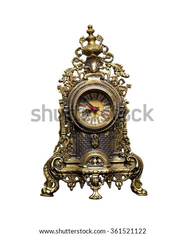 old vintage clock on white