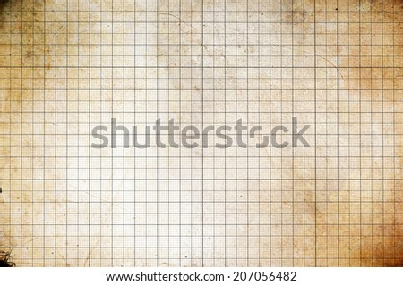 Old vintage colorless dirty graph paper - stock photo