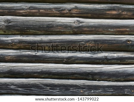 Old vintage dark timbered wall as background