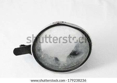 Old Vintage Dirty Diving Mask on a White Background - stock photo