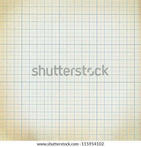 Old vintage dirty graph paper. - stock photo