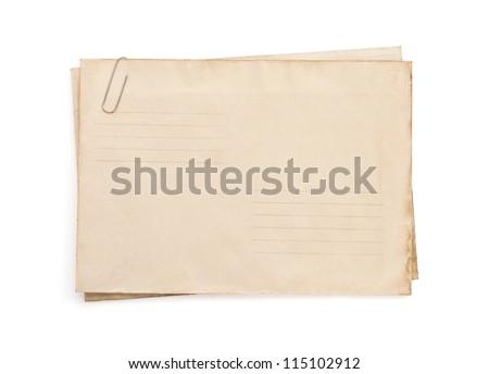 old vintage envelope isolated on white background - stock photo