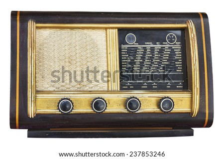 Old Vintage fashioned radio isolated on white background