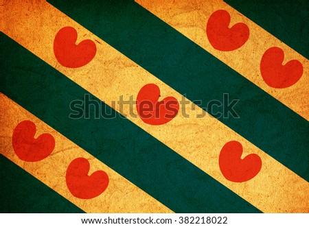 old vintage flag of Friesland region in netherlands - stock photo