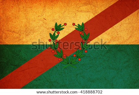 old vintage flag of one of administrative divisions of argentina called la rioja - stock photo