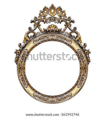 Old vintage frame isolated on white -Clipping path - stock photo