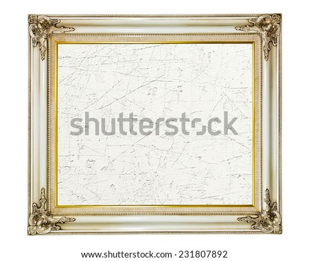 Old vintage frame with empty canvas for your picture, on white background - stock photo