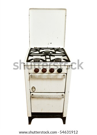 old vintage gas stove over white background - stock photo