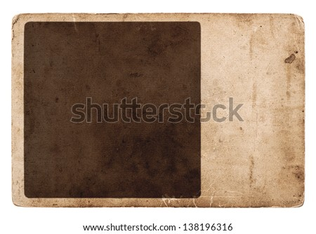 old vintage grunge card board isolated on white background. empty paper sheet with frame for your photos