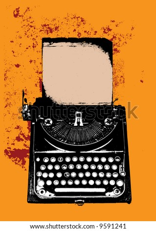 Old vintage grunge typewriter with sheet of paper on yellow background - stock photo