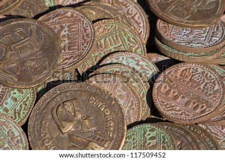 Old, vintage indian coins background - stock photo