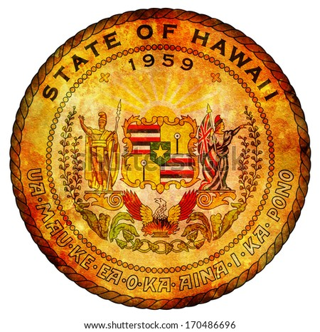 old vintage isolated over white symbol of hawaii - stock photo