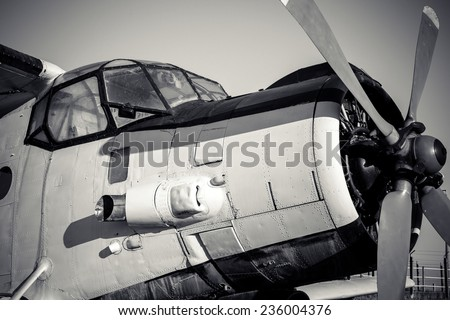 Old vintage jet engine in black and white - stock photo