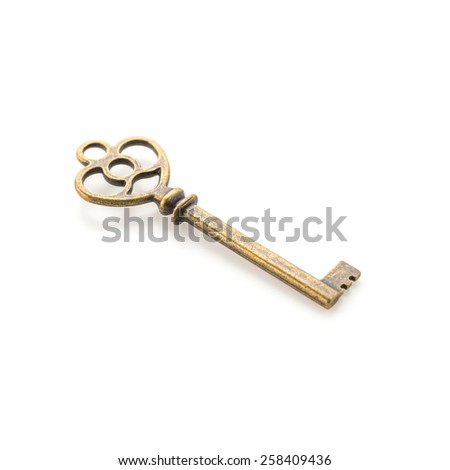 Old vintage key isolated on white background