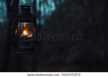 Old Vintage Lantern Lit In The Darkness Of Woods