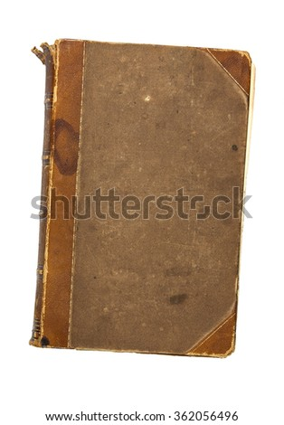 Old vintage leather and canvas book from the early 19th century showing extensive wear and tear after almost 200 years of handling. - stock photo