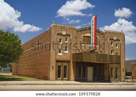Old vintage movie theater in New Mexico, USA