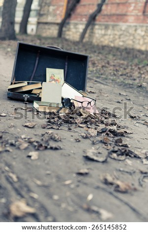 Old vintage opened suitcase lying on the ground. Gray valley. Many old books scattering around. Glasses and magnifying glass are near. Autumn leaves. - stock photo