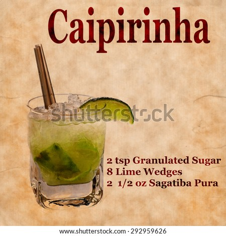 Old,vintage or grunge Recipe  Notebook with Caipirinha  cocktail  on the page.Room for text - stock photo