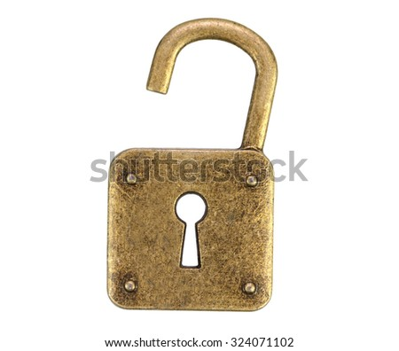 Old, vintage padlock ( open )isolated on white background - stock photo