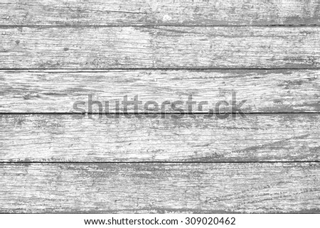 Old vintage panel wood background from solid wood ruin table pale gross color with pastel blend black and white version - stock photo