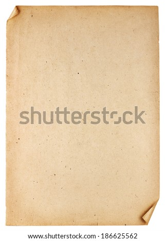 Old vintage paper texture isolated on white background - stock photo