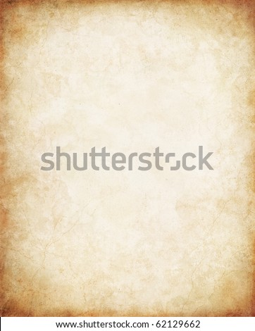 Old vintage paper with a glowing center and grunge vignette. - stock photo