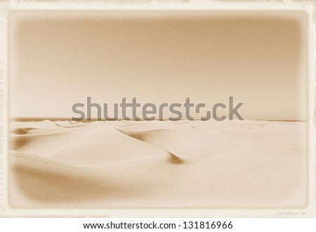 Old vintage photo of a desert in sepia - stock photo