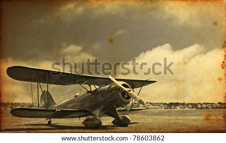 Old vintage photo of a world war one fighter plane - stock photo