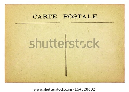Old vintage postcard isolated on white background