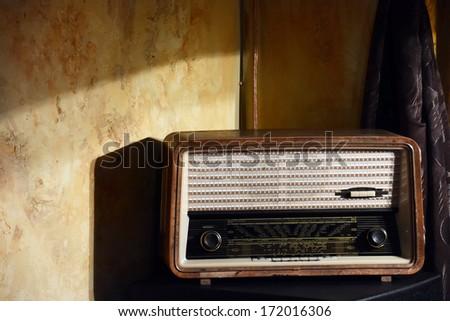 Old vintage radio - stock photo