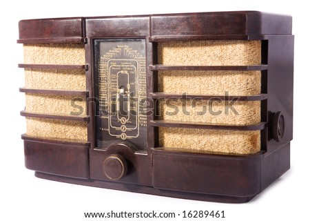 old vintage radio, white isolated, clipping path included - stock photo