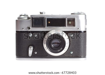 old vintage rangefinder camera isolated on white background - stock photo