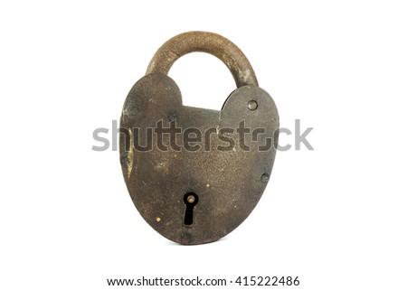 Old Vintage Rusty Lock Isolated On White Background - stock photo