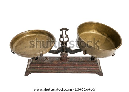 Old Vintage Scales Isolated On White Background
