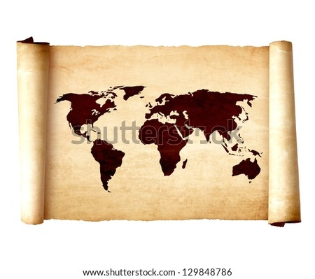 Old vintage scroll with the world map isolated on white background