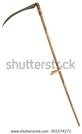 Old vintage scythe for grass isolated on white background. symbol of death.   - stock photo