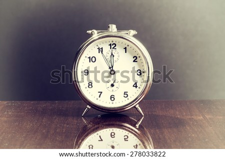 Old Vintage Table Clock - stock photo