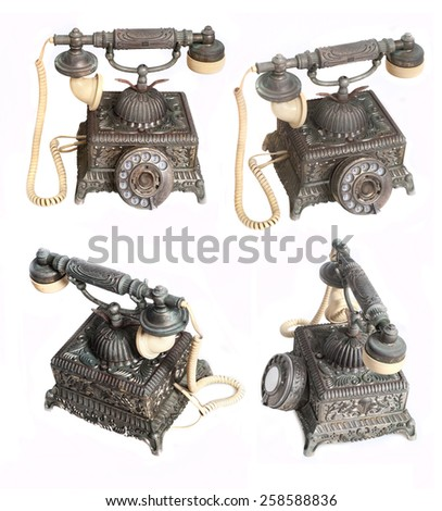 Old vintage telephone  - stock photo