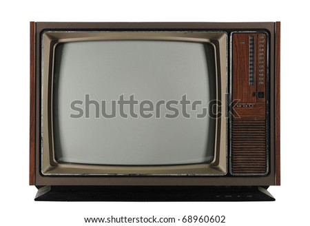 Old Vintage Television isolated on a white background and with Clipping path - stock photo