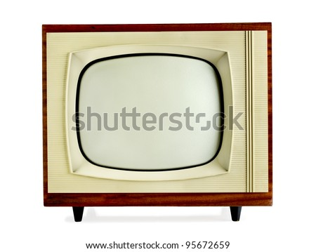 Old vintage television isolated on white background with copy space (clipping path included) - stock photo