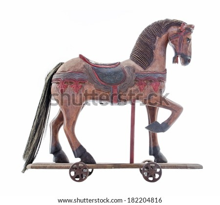 Old Vintage toy horse - stock photo