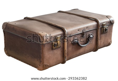 Old Vintage Trunk isolated on White. With Details locks, hand, decor - stock photo