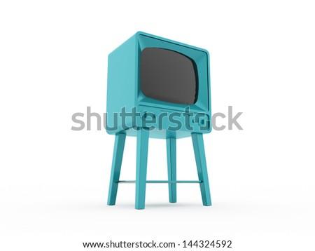 Old vintage TV isolated on white background - stock photo