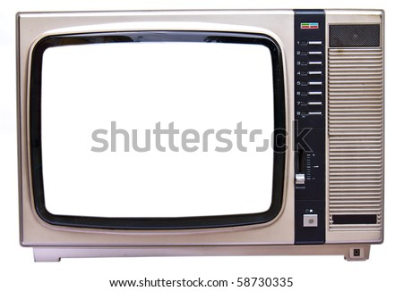 Old vintage TV isolated on white background - stock photo
