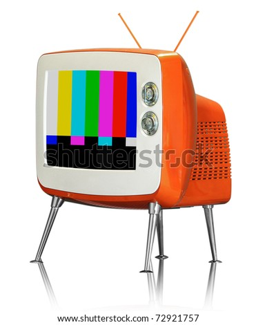 Old vintage TV isolated on white background (wtih path) - stock photo